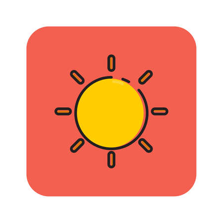 Simple flat color sunny icon vector