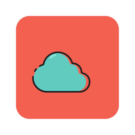 Simple flat color cloudy icon vector