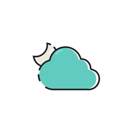 シンプルな単色曇りのアイコン ベクトル。  イラスト・ベクター素材