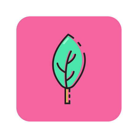 Simple flat color leaf icon vector