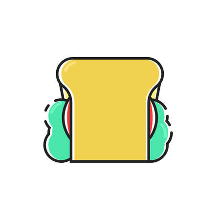 Simple flat color sandwich icon vector