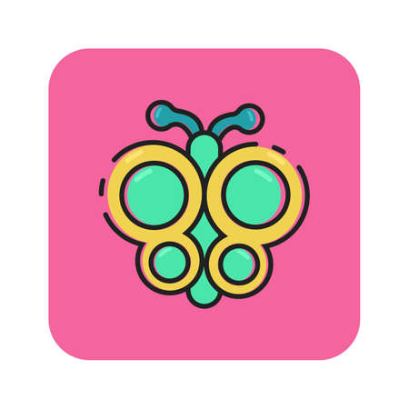 Simple flat color butterfly icon vector Illustration