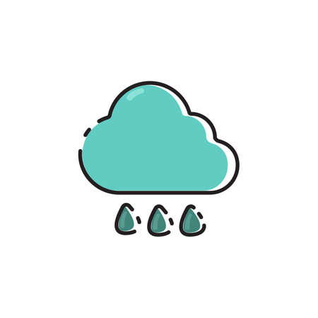 Simple flat color rainy icon vector Illustration
