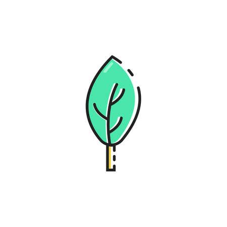 Eenvoudige egale kleur blad pictogram vector