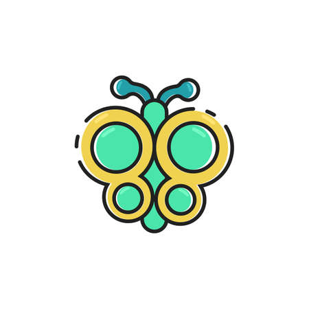Simple flat color butterfly icon vector Ilustracja