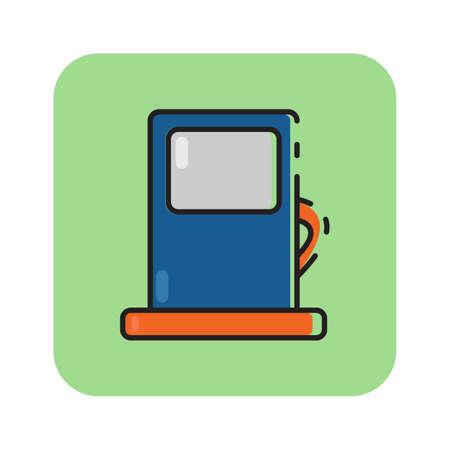 Simple flat color gas pump icon vector Illustration