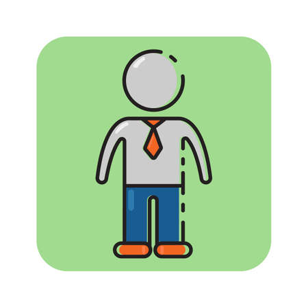 Simple flat color construction worker icon vector Illustration