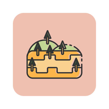 Simple flat color hill icon vector Illustration