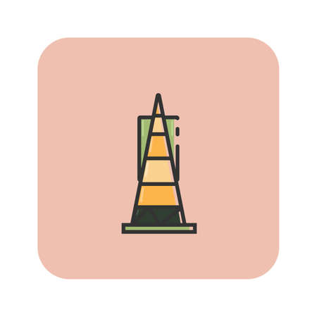 Simple flat color transamerica pyramid icon vector