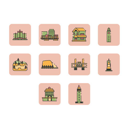 Collection of world travel icon vector