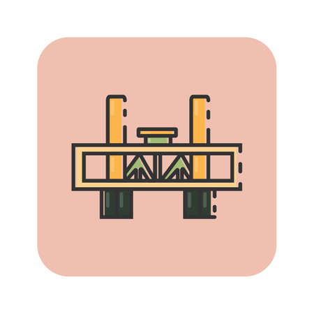Simple flat color sacramento bridge icon vector Illustration