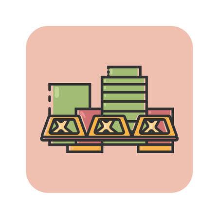 Simple flat color grand rapids icon vector