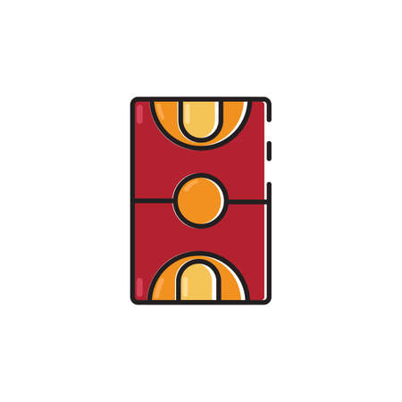 Simple flat color basket court icon vector Illustration