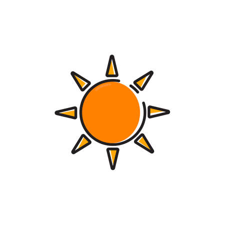 radiacion solar: Vector simple icono de sol de color de sol
