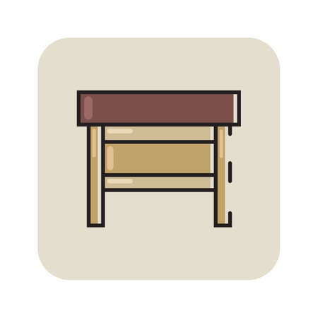 drawing room: Simple flat color table icon vector