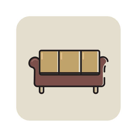 Simple flat color couch icon vector Vectores