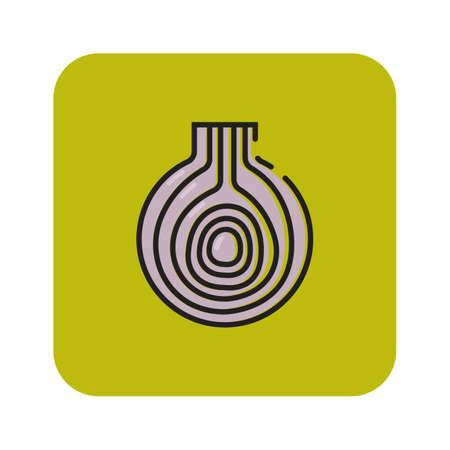 Simple flat color garlic icon vector Ilustração