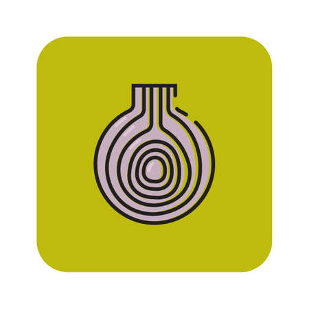 Simple flat color garlic icon vector Illustration