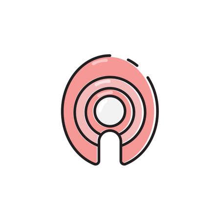 can food: Simple flat color tuna slice icon vector