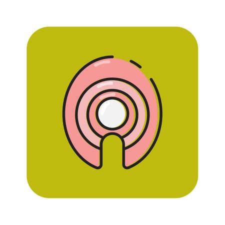 Simple flat color tuna slice icon vector
