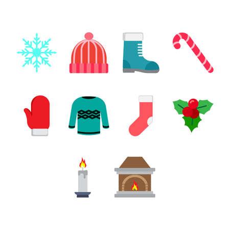 Collection of winter season icon vector Stock Vector - 85499478