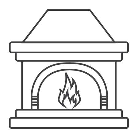 Simple thin line fireplace icon vector