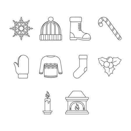 Collection of winter season icon vector Illustration