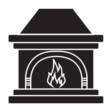 Simple flat black fireplace icon vector Illustration