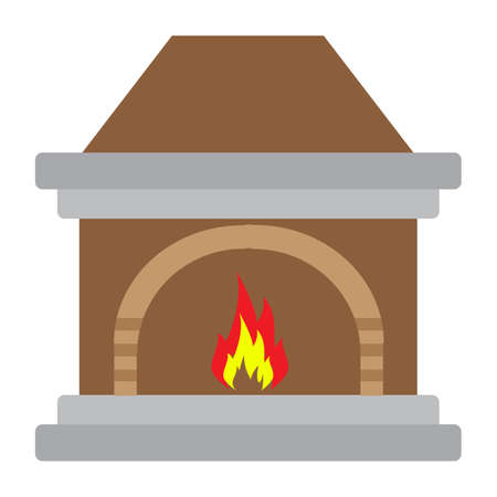 Simple flat color fireplace icon vector