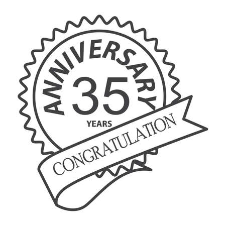 Simple thin line  thirty fifth years anniversary icon vector.