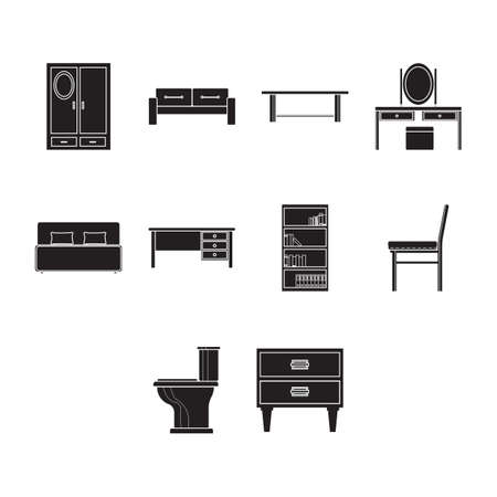 Collection of furniture icon vector