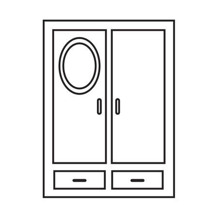 Simple thin line cupboard icon vector