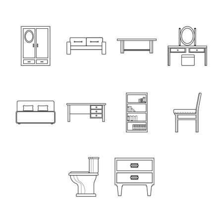 Verzameling van meubilair pictogram vector Vector Illustratie