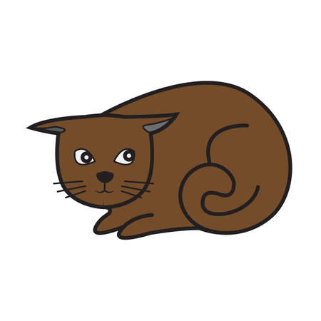 Simple flat color cat icon Vector illustration.