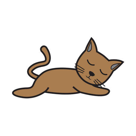 Simple flat color cat icon vector Illustration