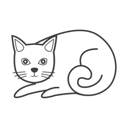 Simple thin line cat icon vector