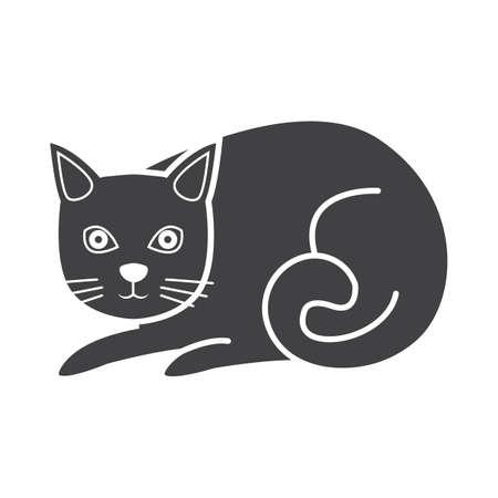 Simple flat black cat icon vector Illustration