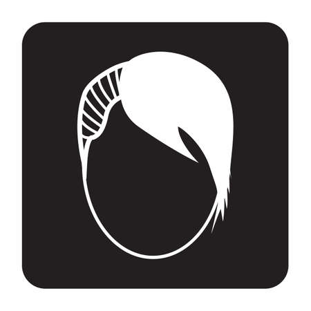 Simple flat color hairstyle icon, vector illustration.