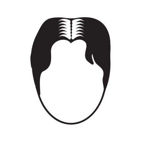 Simple flat black hairstyle icon vector