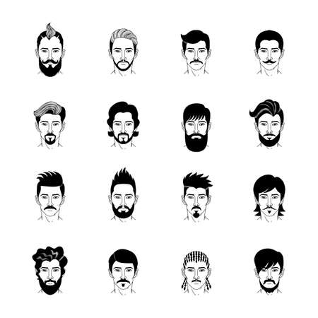 Collection of cartoon man hairstyle icon vector Illustration