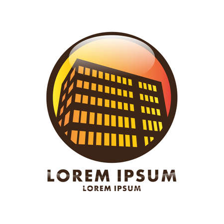 A round logo template with building theme