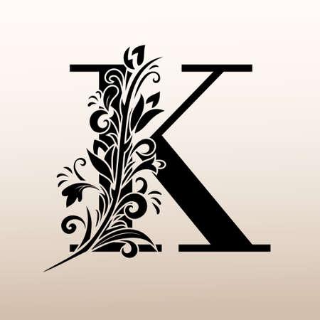 Elegant Simple monogram, letter K. Creative logo. Line art design. Branch with leaves. Vintage Emblem. Drawn Template for Book Design, Restaurant, Wedding, Boutique, Invitation. Vector illustration Logo