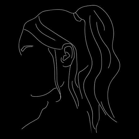 Illustration of a girl. The aesthetics of the graceful lines of the body. Beautiful art. Atmospheric image. Drawings for books, magazines, and postcards. Vector graphics Vettoriali