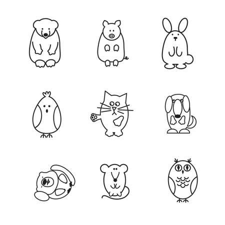 marmot: set of animal doodle contours, like bear, pig, rabbit, chicken, cat, dog, marmot, mouse, owl, line icons on white background