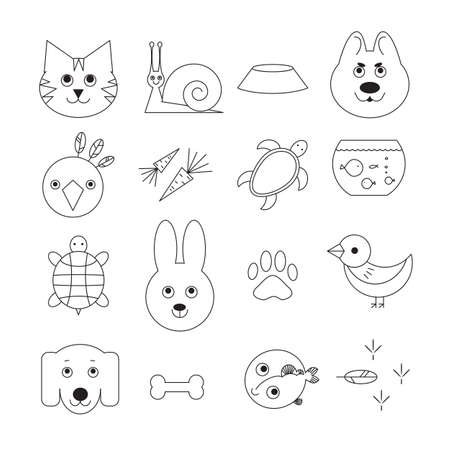 animal related: Animal related icon or pet logo set in thin line style.