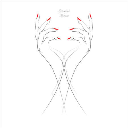 finger nails: Female hand with painted nails, red manicure symbol. Vector illustration.