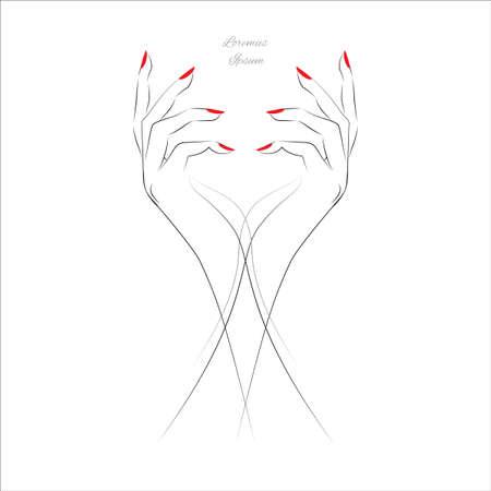 Main Femme avec des clous peints, symbole de manucure rouge. Vector illustration. Banque d'images - 51823886
