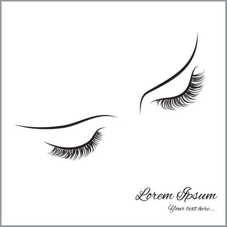 lashes: Closed eyes with long eyelashes Sample logo for a beauty salon, beauty products.