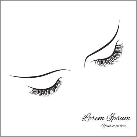 Zamknięte oczy z długimi rzęsami próbki logo dla salonu kosmetycznego, produktów kosmetycznych.