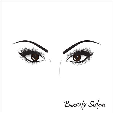 Sample logo for a beauty salon, beauty products. Eyelash. Vector. Hand drawing, lettering, fashion, beauty, sketch  イラスト・ベクター素材
